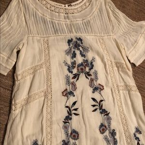 Free People Cream and Blue Embroidered Dress